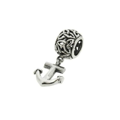 Outlander Inspired 'Voyager' Inspired Nautical Anchor Bracelet Bead Charm With Celtic Trinity Knot